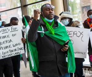 Nigerian Association stages peaceful protest against police brutality in Nigeria